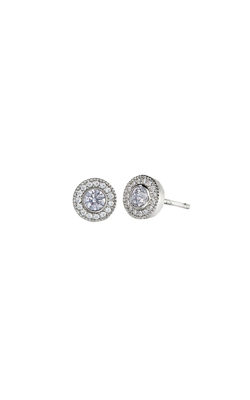 Kelly Waters Platinum Finish Sterling Silver Micropave Round Light Amethyst Earrings BL2300E6S product image