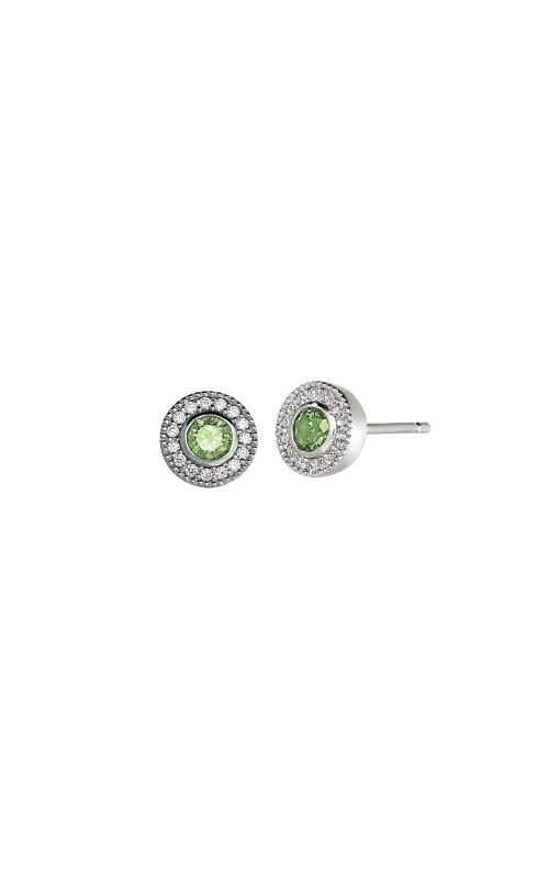 Kelly Waters Platinum Finish Sterling Silver Micropave Round Peridot Earrings BL2300E8S product image