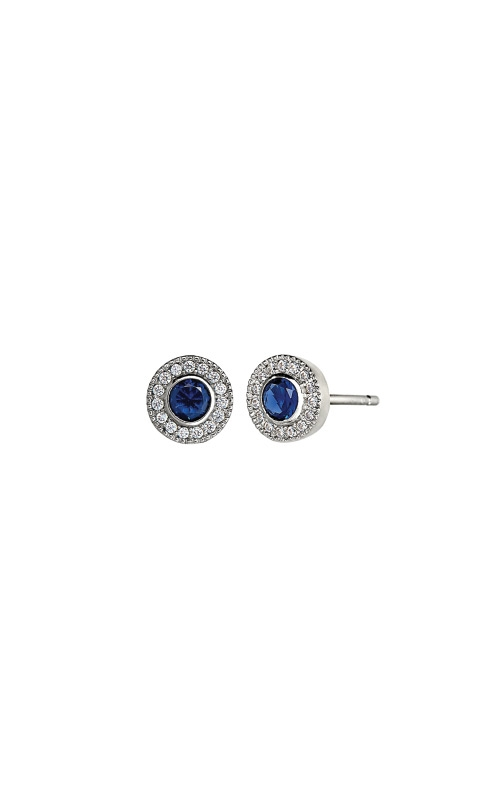 Kelly Waters Platinum Finish Sterling Silver Micropave Round Sapphire Earrings BL2300E9S product image