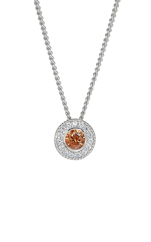 Kelly Waters Platinum Finish Sterling Silver Round Citrine Pendant BL2300N11S product image