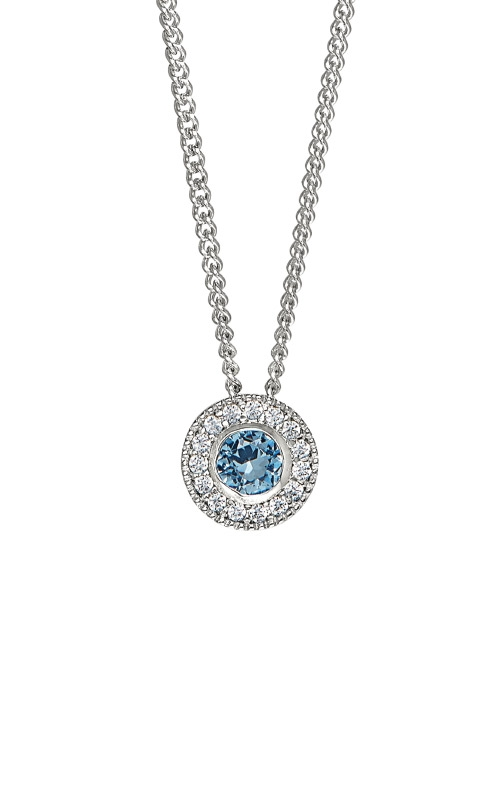 Kelly Waters Platinum Finish Sterling Silver Round Blue Topaz Pendant BL2300N12S product image