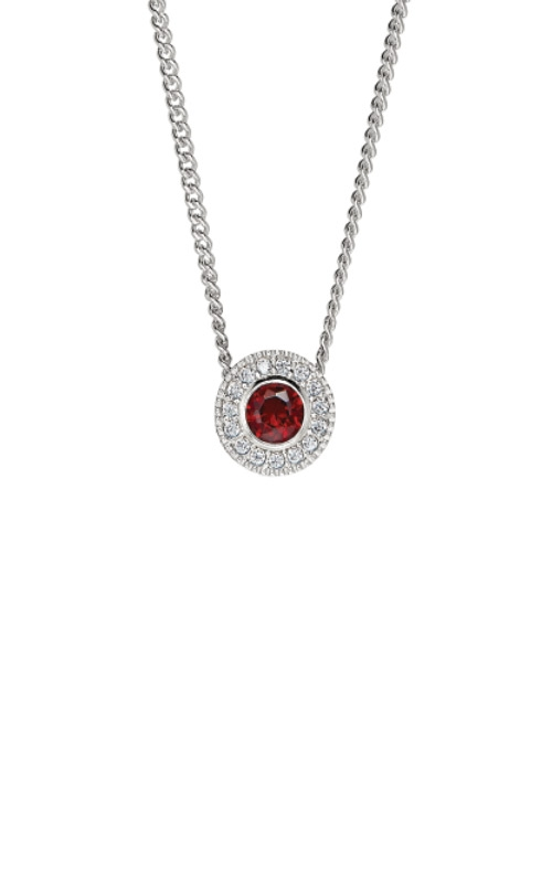 Kelly Waters Platinum Finish Sterling Silver Round Simulated Garnet Pendant BL2300N1S product image