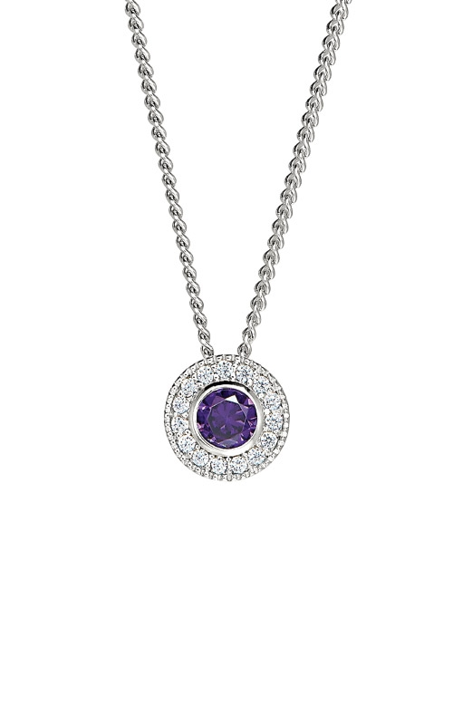 Kelly Waters Platinum Finish Sterling Silver Round Amethyst Pendant BL2300N2S product image