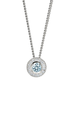 Kelly Waters Platinum Finish Sterling Silver Round Aquamarine Pendant Kelly Waters BL2300N3S product image