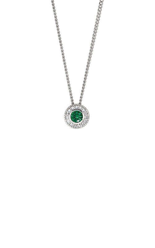 Kelly Waters Platinum Finish Sterling Silver Round Emerald Pendant BL2300N5S product image