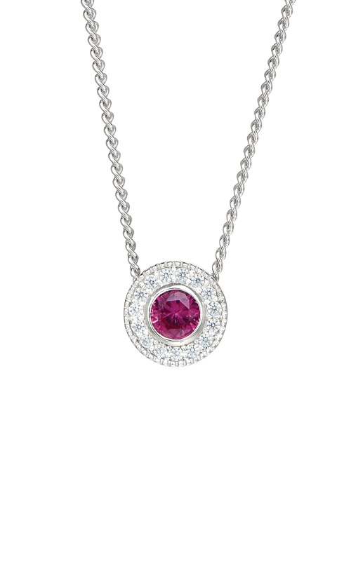 Kelly Waters Platinum Finish Sterling Silver Round Ruby Pendant BL2300N7S product image