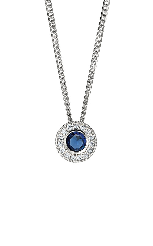 Kelly Waters Platinum Finish Sterling Silver Round Sapphire Pendant BL2300N9S product image