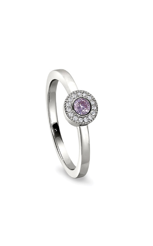 Kelly Waters Platinum Finish Sterling Silver Micropave Round Pink Sapphire Ring BL2300R-7S-10 product image
