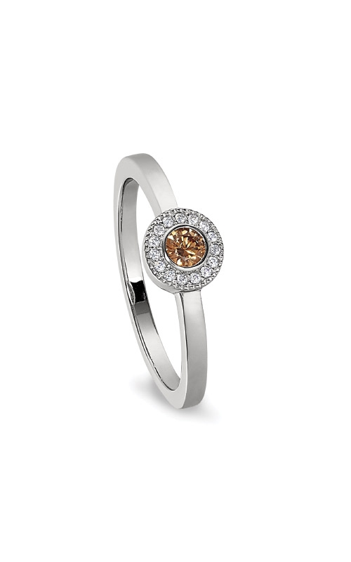 Kelly Waters Platinum Finish Sterling Silver Micropave Round Citrine Ring BL2300R-7S-11 product image