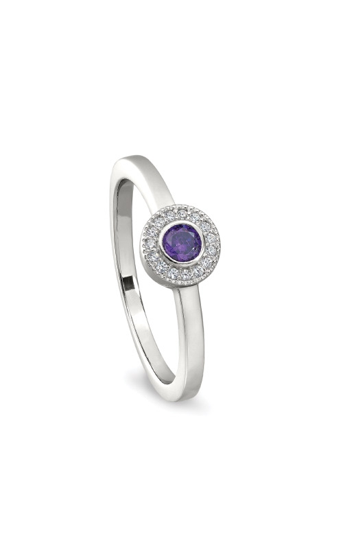 Kelly Waters Platinum Finish Sterling Silver Micropave Round Amethyst Ring BL2300R-7S-2 product image