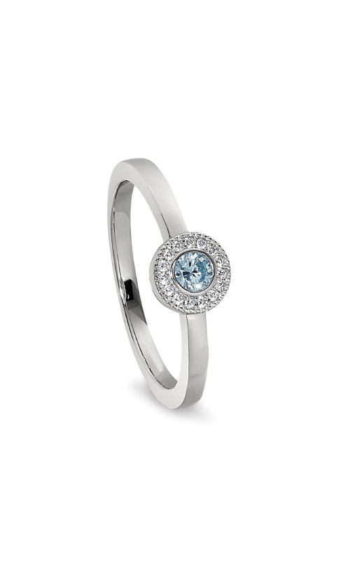 Kelly Waters Platinum Finish Sterling Silver Micropave Round Aquamarine Ring BL2300R-7S-3 product image