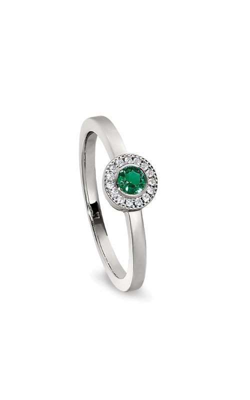 Kelly Waters Platinum Finish Sterling Silver Micropave Round Emerald Ring BL2300R-7S-5 product image