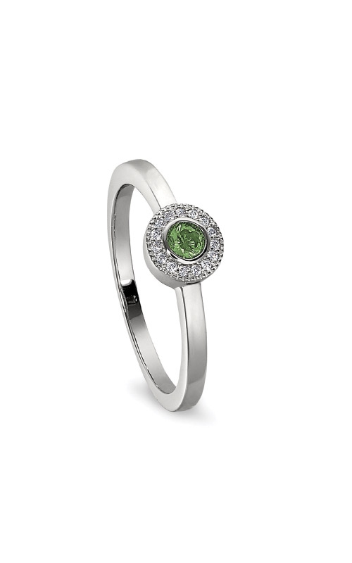 Kelly Waters Platinum Finish Sterling Silver Micropave Round Peridot Ring BL2300R-7S-8 product image