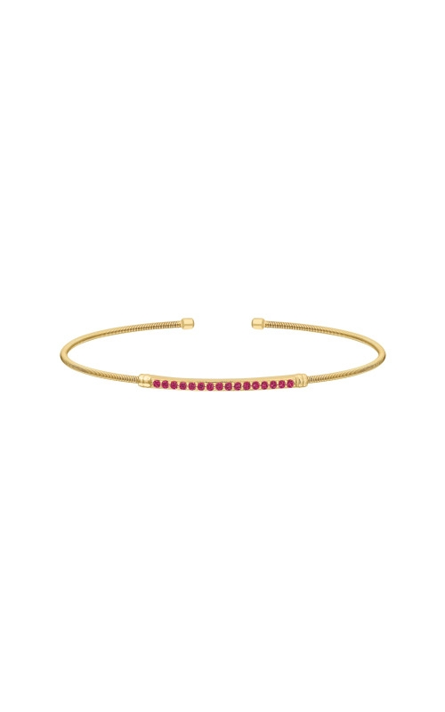 Kelly Waters Gold Finish Sterling Silver Ruby Cable Cuff Bracelet LL7004B7-G product image