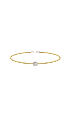 Kelly Waters Gold Finish Sterling Silver CZ Single Cable Cuff Bracelet  LL7018B-G-RH product image