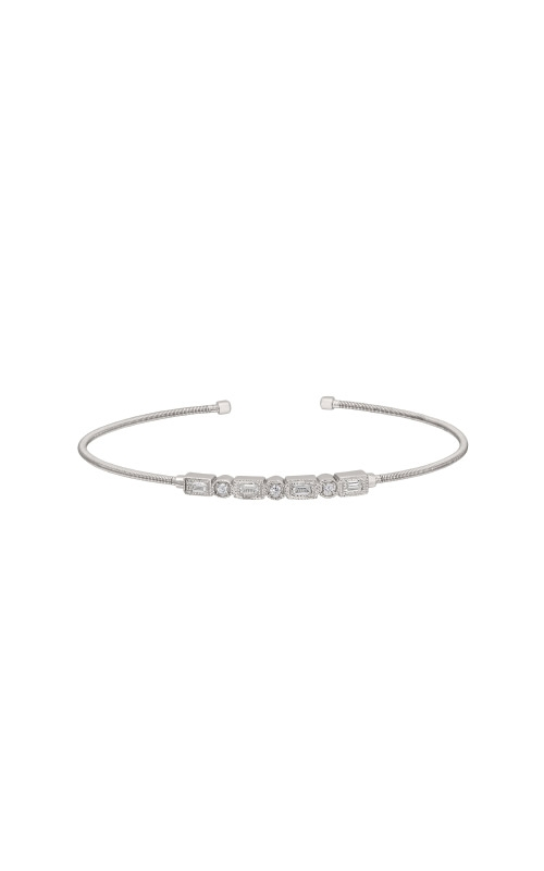 Kelly Waters Sterling Silver CZ Emerald and Round Cuff Bracelet LL7027B-RH product image