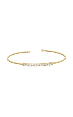Kelly Waters Gold Finish Sterling Silver CZ Cable Cuff Bracelet LL7032B-G product image