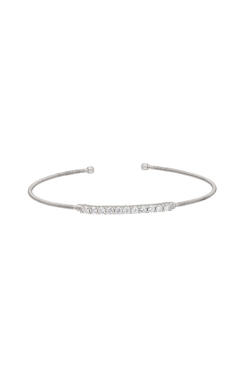 Kelly Waters Rhodium Finish Sterling Silver CZ Cable Cuff Bracelet LL7032B-RH product image