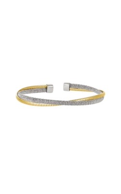 Kelly Waters Sterling Silver and Gold Finish Omega Twist Cuff Bracelet LL7038B-RH-G