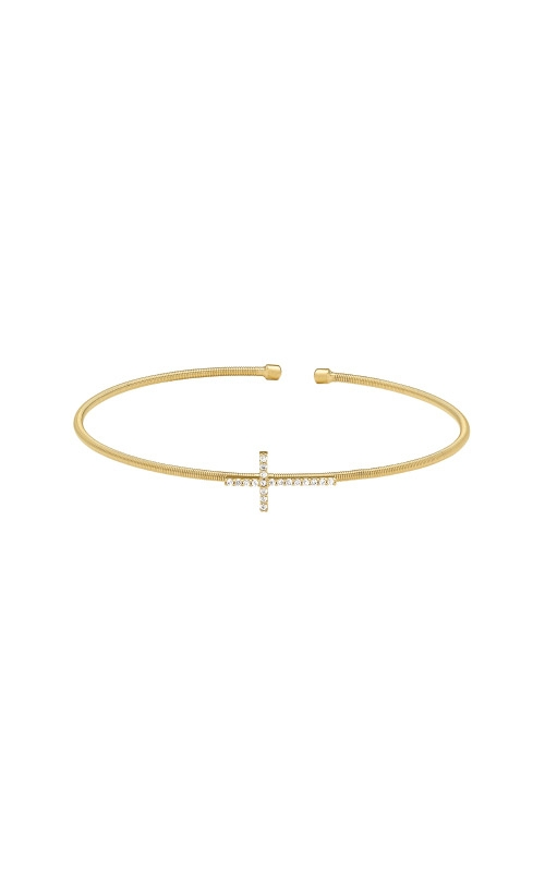 Kelly Waters Gold Finish Sterling Silver Cross Cable Cuff Bracelet LL7056B-G product image