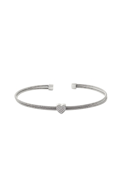 Kelly Waters Rhodium Finish Sterling Silver Two Cable Heart Cuff Bracelet LL7061B-RH product image