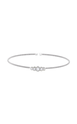 Kelly Waters Rhodium Finish Sterling Silver Graduated CZ Cable Cuff Bracelet LL7074B-RH product image