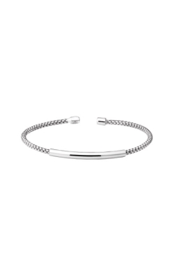 Kelly Waters Sterling Silver Rounded Box Link Cuff Bracelet with High Polished Bar LL7099B-RH product image