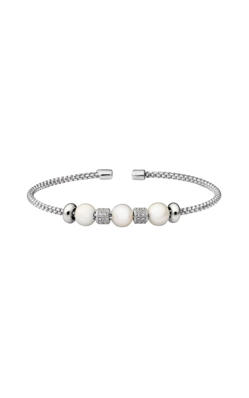 Kelly Waters Rhodium Finish Sterling Silver Pearl Rounded Box Link Cuff Bracelet  LL7101B-RH product image