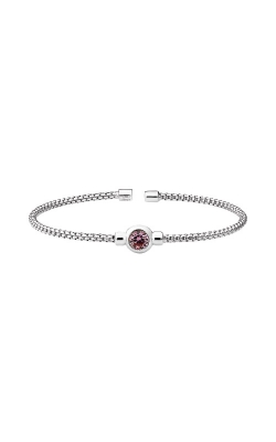 Kelly Waters Rhodium Finish Sterling Silver Pink Sapphire Rounded Box Link Cuff Bracelet LL7102B10-RH product image