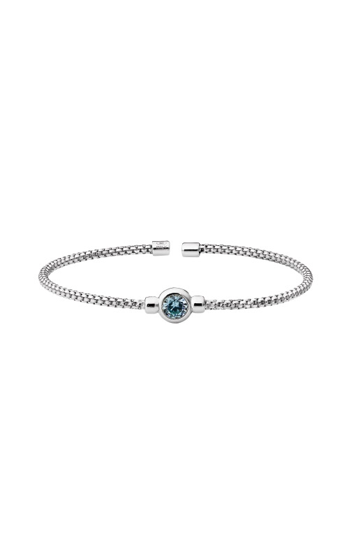 Kelly Waters Rhodium Finish Sterling Silver Aquamarine Rounded Box Link Cuff Bracelet LL7102B3-RH product image