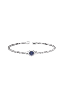 Kelly Waters Rhodium Finish Sterling Silver Blue Sapphire Rounded Box Link Cuff Bracelet LL7102B9-RH product image