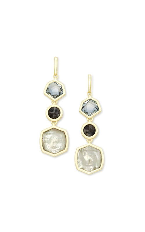 Kendra Scott Natalia Gold Statement Earrings In Steel Gray Mix 4217704549 product image