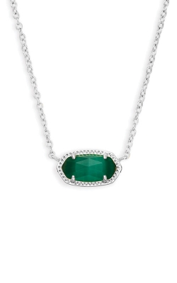 Kendra Scott Elisa Silver Pendant Necklace In Emerald Cats Eye 4217717620 product image