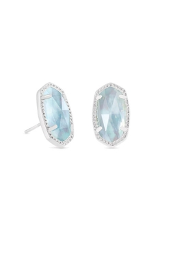 Kendra Scott Ellie Silver Stud Earrings In Light Blue Illusion 4217717629 product image