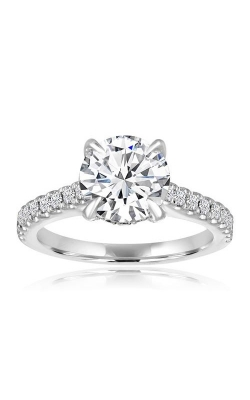 Love Story 14k White Gold 1/2ctw Round Diamond Cathedral Semi Mount Engagement Ring 60186D-14KW-3/8 product image