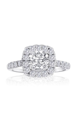 Love Story 14k White Gold 2/3ctw Round Diamond Pave Halo Semi Mount Engagement Ring 61246D-14KW-2/5 product image