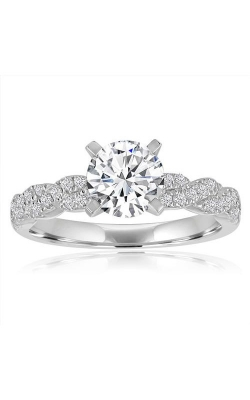 Love Story 14k White Gold Round Diamond Pave Twist Engagement Ring 64406D-14KW-1-4 product image