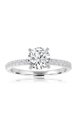 Love Story 14k White Gold Round Diamond French Pave Engagement Ring 66156D-14KW-1/4 product image
