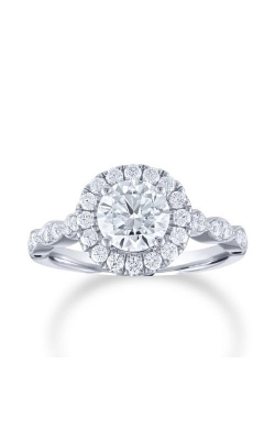 Love Story 14k White Gold 1/2ctw Floral Round Halo Semi Mount Engagement Ring 67286D-14KW-1/2 product image