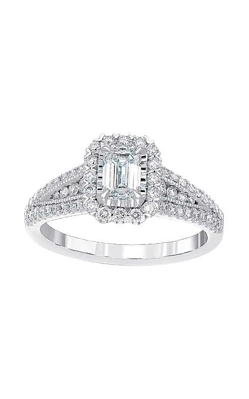 Love Story 14k White Emerald Halo Engagement Ring AJ-R12624 product image