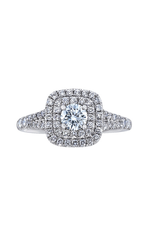 Love Story 14k White Gold Double Halo Engagement Ring AJ-R13317LJ product image