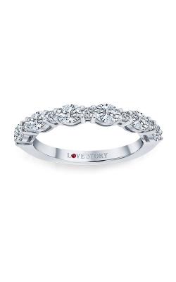 Love Story 14k White Gold Oval & Round Diamond Wedding Band AJ-R14987LJ product image