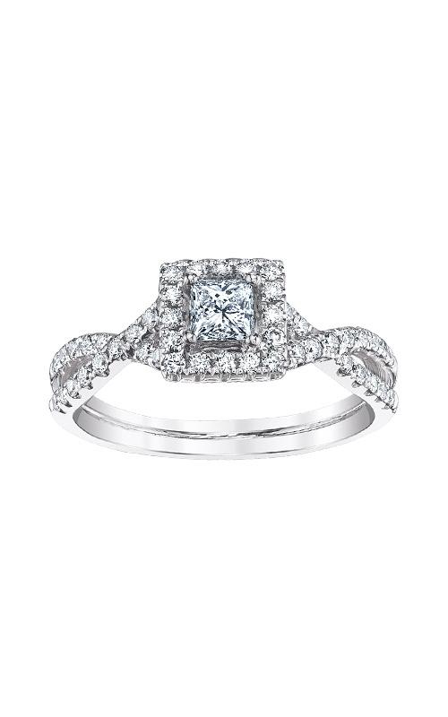Love Story 14k White Gold Princess Cut Halo Engagement Ring AJ-R5740LJ product image