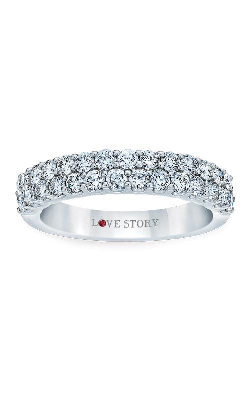 Love Story 14k White Gold 1/2ctw 2 Row Diamond Wedding Band AJ-R8754LJ product image