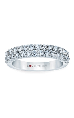 Love Story 14k White Gold 1/2ctw 2 Row Diamond Wedding Band AJ-R8754LJ product image