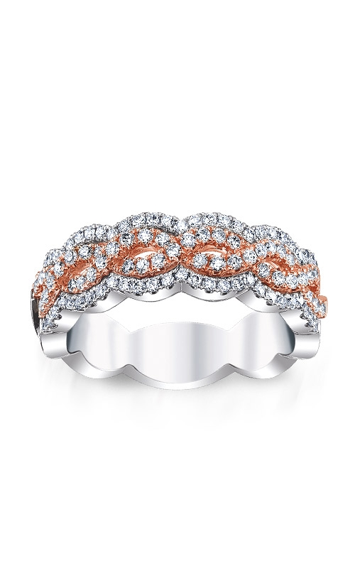 Love Story 14k White and Rose Gold 5/8ctw Double Infinity Wedding Band AJ-R9180LJ product image