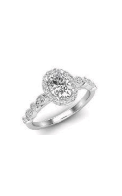 Love Story 14k White Gold 1/4ctw Oval Semi Mount L8624-OV product image