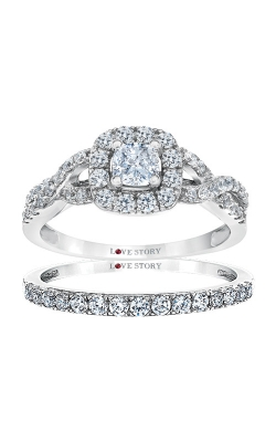 Love Story 14k White Gold 1ctw Cushion Engagement Ring RB-3918LSA34JR4W product image