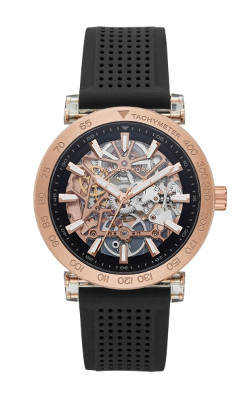 Michael Kors Men's Greer Rose Gold Tone and Perforated Silicone Watch MK9041 product image
