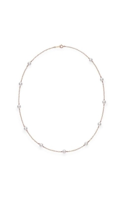 "Mikimoto 18"" Akoya Cultured Pearl Station Necklace In Pink Gold PC158LZ product image"